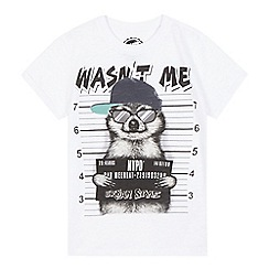 bluezoo - Boys' white 'Wasn't me' slogan print t-shirt