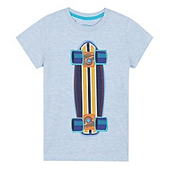 bluezoo - Light blue skateboard applique t-shirt