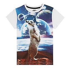 bluezoo - Boys' white 'Meerkat' in space print t-shirt