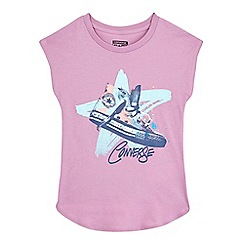 Converse - Girls' lilac 'All Star' trainer print t-shirt