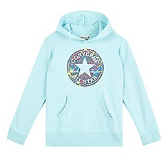 Converse - Girls' aqua 'All Star' logo print hoodie