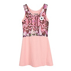 Converse - Girls' pink 'All Star' floral mesh layered dress