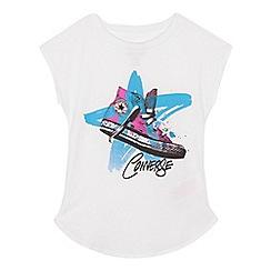 Converse - Girls' white 'Converse' print t-shirt