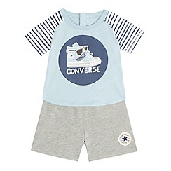 Converse - Baby boys' blue 'Constashio' print top and bottoms