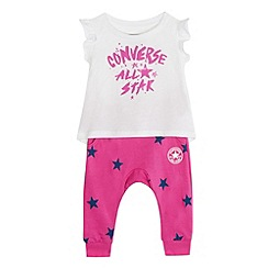 Converse - Baby girls' pink 'All Star' print top and leggings set