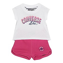 Converse - Baby girls' pink 'All Star' print top and shorts set
