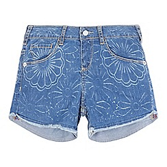 Levi's - Girls' blue floral print denim shorts