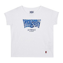 Levi's - Girls' white foil-effect logo print t-shirt