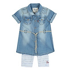 Levi's - Baby girls' blue shirt dress and leggings set