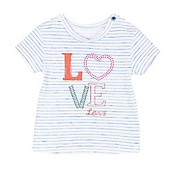 Levi's - Baby girls' white striped 'love' applique t-shirt