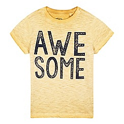 bluezoo - Boys' yellow acid wash 'awesome' t-shirt