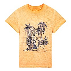 bluezoo - Boys' orange acid wash dinosaur t-shirt