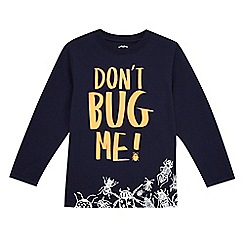 bluezoo - Boys' navy 'Don't bug me' slogan print t-shirt