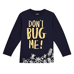 bluezoo - Boys' navy 'Don't bug me' slogan print t-shirt