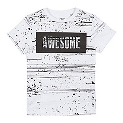 bluezoo - Boys' white paint splatter 'Awesome' print t-shirt