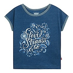 Levi's - Girls' blue floral logo t-shirt