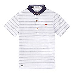 J by Jasper Conran - Boys' white textured stripe polo shirt