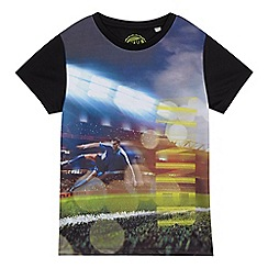 bluezoo - Boys' black football scene print t-shirt