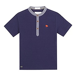 J by Jasper Conran - Boys' navy textured grandad t-shirt