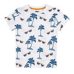 bluezoo - Boys' white sunglasses print t-shirt