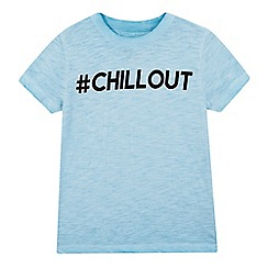 bluezoo - Boys' blue oil wash-effect #Chillout t-shirt
