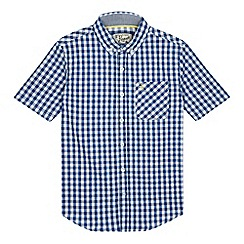 Penguin - Boys' blue gingham print shirt