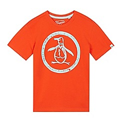 Penguin - Boys' orange distressed penguin print t-shirt