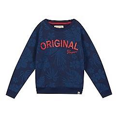 Penguin - Boys' navy hibiscus logo print jumper