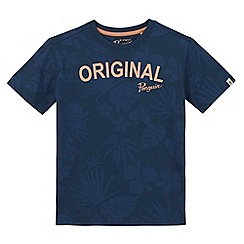 Penguin - Boys' navy hibiscus print t-shirt
