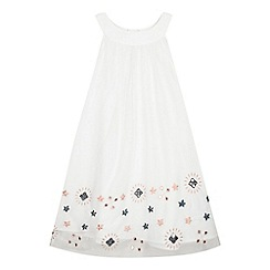 French connection - Girls' white mesh overlay embroidered dress