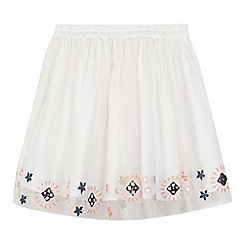 French connection - Girls' white mesh overlay embroidered skirt