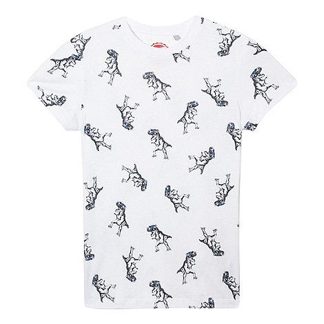 bluezoo - Boys+ white dinosaur print t-shirt