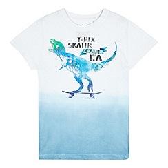 bluezoo - Boys' white skateboarding dinosaur print t-shirt