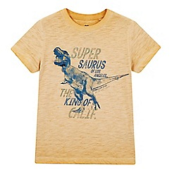 bluezoo - Boys' yellow oil wash-effect T-Rex print t-shirt