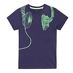 bluezoo - Boys' navy headphones print t-shirt