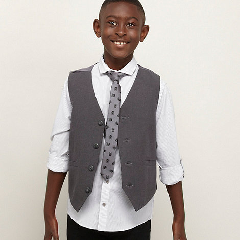 bluezoo - Boy+s grey striped shirt, waistcoat and tie set