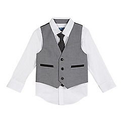 bluezoo - Boys' grey waistcoat, shirt and tie set