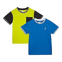 bluezoo - Pack of two boys' blue and yellow ribbed trim t-shirts