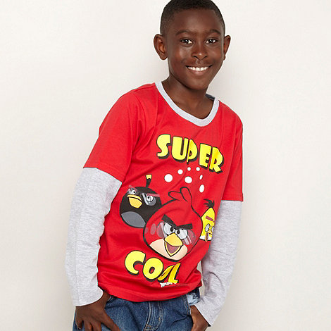 null - Boy+s red +Angry Birds+ mock dual sleeve top