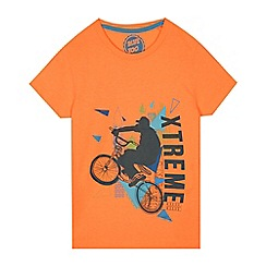 bluezoo - Boys' orange extreme biker print t-shirt