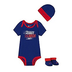 Nike - Baby boys' blue hat, bodysuit and booties set