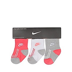 Nike - Pack of three baby girls' pink crawler socks