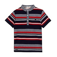 J by Jasper Conran - Boys' navy and red striped print polo shirt