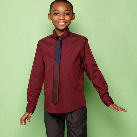 bluezoo - Boys wine shirt and tie set