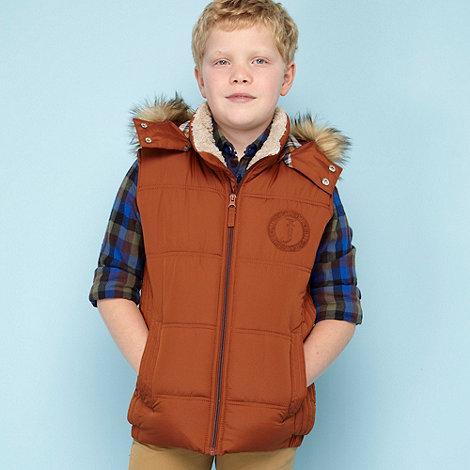 J by Jasper Conran - Designer boy+s tan hooded padded gilet