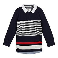 J by Jasper Conran - Boys' navy striped print mock shirt and jumper top