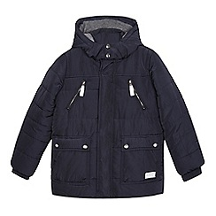 J by Jasper Conran - Boys' navy padded fleece lined hooded jacket