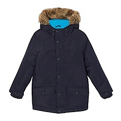 bluezoo - Boys' navy faux fur trim shower resistant parka coat