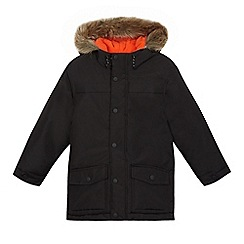 bluezoo - Boys' black faux fur trim parka coat