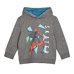bluezoo - Boys' navy textured graphic 'Skater dude' print hoodie